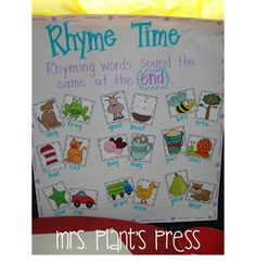 has a card, they go around the room and find their rhyming match, then make an anchor chart with it.student has a card, they go around the room and find their rhyming match, then make an anchor chart with it. Ela Anchor Charts, Kindergarten Anchor Charts, Kindergarten Language Arts, Reading Anchor Charts, Rhyming Activities, Kindergarten Activities, Preschool Ideas, Classroom Activities, Preschool Games