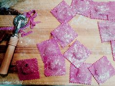 Playing around with beetroot coloured ravioli. So pretty! Find us on instagram - #thelittlelocalspasta