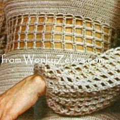 WZ142 crochet pattern;unusual crochet mesh on pantsuit top