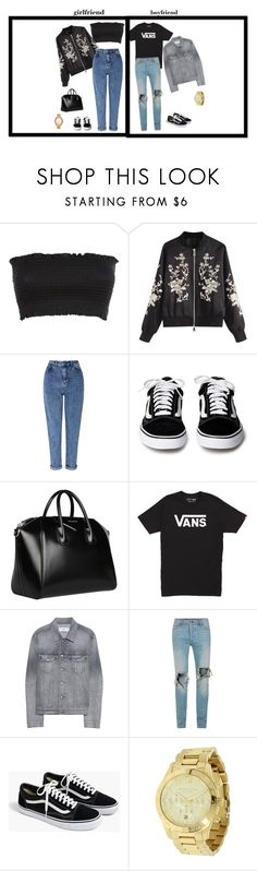 """girlfriend and boyfriend"" by danielle-sitte on Polyvore featuring Miss Selfridge, Givenchy, Vans, Closed, Topman, J.Crew and Michael Kors"