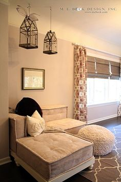 Suzie: M. E. Beck Design - Sweet girl's room with gray velvet tufted lounge seating,  Surya ...