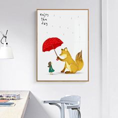 BIANCHE WALL Nordic Simple Children's cartoon Rain and Snow with Umbrella Poster Wall Art Canvas Painting Picture Home Decor-in Painting & Calligraphy from Home & Garden on Aliexpress.com | Alibaba Group