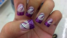 Beautiful nail art designs that are just too cute to resist. It's time to try out something new with your nail art. Purple Nail Art, Purple Nail Designs, Cute Nail Designs, Purple Glitter, Pink Purple, Purple Style, Blue, Fingernail Designs, Nail Polish Designs