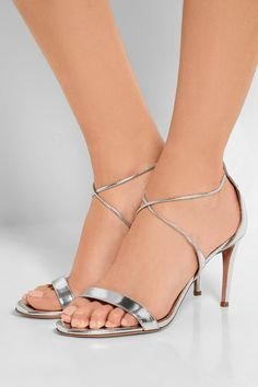 Heel measures approximately 85mm/ 3.5 inches Silver mirrored-leather Ties at ankle Made in Italy
