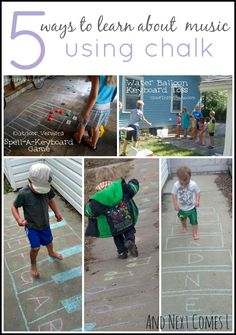 Learn Piano 5 ways for kids to learn about music using chalk from And Next Comes L - Simple outdoor music theory for kids. Five ways to play and learn about music using sidewalk chalk. Music Activities For Kids, Music Lessons For Kids, Music For Kids, Piano Lessons, Preschool Music Lessons, Preschool Activities, Piano Teaching, Learning Piano, Teaching Art