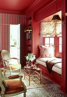 Window seat in color of the year The 8 Best Paint Colors of the Year -- One Kings Lane Red Paint Colors, Popular Paint Colors, Fall Color Schemes, Bedroom Red, Red Rooms, Cozy Nook, Red Interiors, Color Of The Year, Room Paint