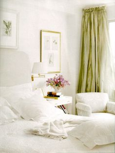 charles spada.  bedroom, white linens, white headboard, green draperies.