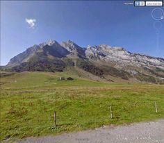 """Le massif des Aravis, depuis le col des Aravis (frontière entre Savoie et Haute-Savoie).  45°52'21.13""""N 6°27'51.77""""E"""
