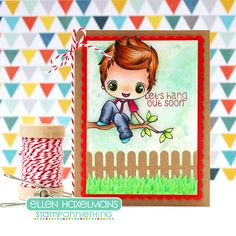 It's Day 1 of Sneak Peeks for Stamp Anniething's July Release!  Check out DT Ellen's sweet card using the new Tony ~ Let's Hang Out Soon Stamp.  #stampanniething #rubberstamps #copics #copicmarkers #cardmaking #chibistamps #boy #tree