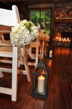 hydrangea chair markers | lantern aisle markers | rustic wedding decor | mcclain lodge brandon ms