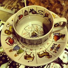 Divination Fortune Telling: Tea Cup and Saucer Decorated with Astrology Tea Cup Saucer, Tea Cups, Reading Tea Leaves, Tea Reading, Ivy House, Fortune Telling, Yule, Tea Set, Tea Time