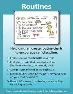 Positive Discipline: Routines. Great for the classroom as well. Well established routines help things run smoothly.