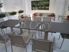Gescova Azur Roma Rechthoekige Verlengbare Tafel Aluminium Ivoor blad in Glas Licht Taupe verlengbaar 220/290 Luca Table-de-jardin-Garden-Outdoor-dining-table-gartentisch