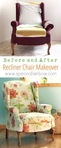 Dramatic before after transformation and detailed tutorial on how to makeover an upholstered recliner chair, and lots of helpful tips for beginners. A Piece Of Rainbow