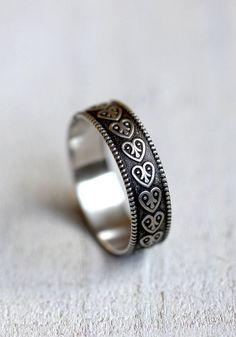 Heart wedding ring heart pattern wedding ring by PraxisJewelry, $36.00 Praxis Jewelry