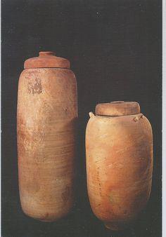 Qumran Israel - Jars in which the Dead Sea Scrolls were found. Cave #1. 1st C. BCE - 1st C. CE. Pottery. The Hebrew University of Jerusalem. Dead Sea Scrolls Museum.