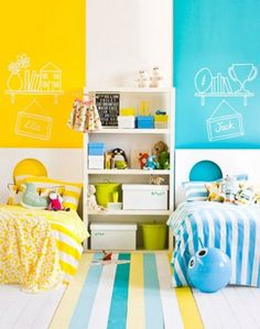 Beautifully Bright Shared Room from Maree Homer | 10 Clever & Creative Shared Bedrooms ~ Tinyme Blog