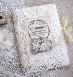 Lace Needle Book with Vintage Image