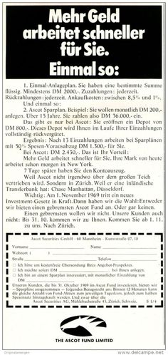 Original-Werbung/ Anzeige 1969 - THE ASCOT FUND LIMITED - ca. 110 x 240 mm