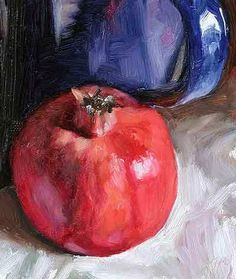 Pomegranate, Bottle and Blue Jug, 13 x 15 cm, oil on card. Daily painting for Wednesday 16 November, 2005, by Julian Merrow-Smith, a British painter living in Provence in the South of France.