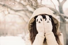 Cute Panda Knitted Gloves for Cute Girl Winter Love, Winter Stil, Winter Hats, Winter Wear, Cosy Winter, Hello Winter, Panda Love, Cute Panda, Ulzzang Girl