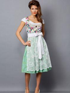 Brautdirndl mit Blumenmuster in Mint und weißer Spitzenschürze