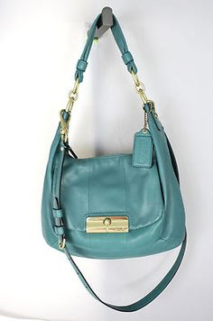 AUTHENTIC COACH KRISTIN Aqua LEATHER  Purse Handbag Shoulder - Excellent Cond