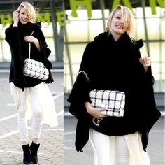 Get this look: http://lb.nu/look/6913828  More looks by Leonie Hanne: http://lb.nu/ohhcouture  Items in this look:  Mirelle London Bag, Zara Poncho, Zara Booties, Zara Pants, H
