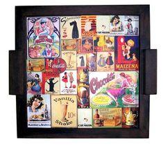 Charmosa Bandeja em mdf  com decoupage Vintage   pintura cor tabaco tamanho 42x39cm acabamento verniz semi brilho R$ 55,55