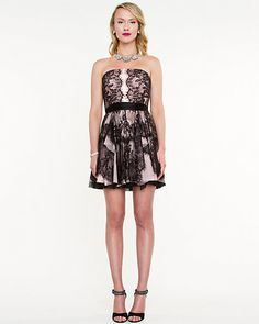 Lace Fit & Flare Dress - Luscious lace and ruffles define this flirty party dress.