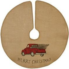 "New Country Farmhouse VINTAGE RED TRUCK Burlap Merry Christmas Tree Skirt 36"" #Unbranded"
