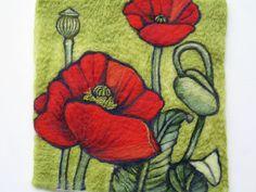 HECHO A LA MEDIDA SÓLO Aguja lana afieltrada pintura - flores de amapola rojos - flores en floración serie. Me he ocupado de plantación y trabajando en mi jardín. Las flores son tan hermosas que quería capturar su belleza a través de mi fieltro. Creado totalmente de lana Shetland y la merina.  Sin marco.  Dimensiones: 12 x 12