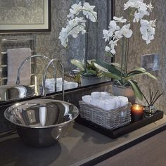 """Guest loo blending traditional and contemporary with a Gessi basin and mixer #sophiepatersoninteriors"""
