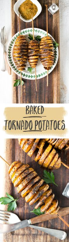 Baked 'Tornado' Potatoes! Crispy, spiral potato coated in herbs & spices. | via @annabanana.co