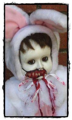 BUNNY VAMPIRE GIRL by Creepy Dolls   Cute & Creepy Halloween Decor #halloween #scary