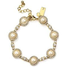 kate spade new york Bouquet Tennis Bracelet ($140) ❤ liked on Polyvore featuring jewelry, bracelets, kate spade, tennis bracelet, faux pearl jewelry, kate spade jewelry and kate spade bangle