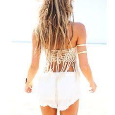 Aliexpress.com: Comprar Mujeres Crochet Vintage Crop Top Halter recortada verano camisola Camis atractivo de la borla de tiras de sujetador…