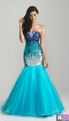 Blue sequin mermaid prom dress