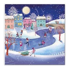 Medici Charity Christmas Cards (MED6925) Pack Of 8 Cards - Ice Skating - In aid of the following Charities: Marie Curie Cancer Care, Parkinsons, CLIC Sargent, Oxfam, Lifeboats, Macmillan