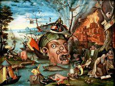 Jan Mandyn[Dutch Northern Renaissance Painter, ca.1500-1560]-Temptation of St.Anthony.