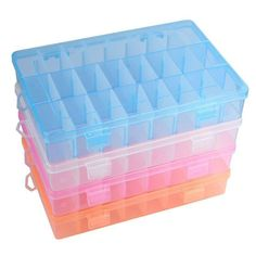 Brand Name: NAI YUE;Material: Plastic; Adjustable 24 Compartment Plastic Storage Box Jewelry Earring Case Feature : 100% brand new and high quality. Quantity: 1 Material:Hard Plastic Case Color:Orange,Blue,Pink,Clear Box Size:19cm x 12.5cm x 3.5cm Multifunctional Design It can be used to store earrings, necklace, bead, finger ring or other small jewelry, also is used for storing fishing hook, fish lure bait or other small tool kit Package Content: 1X Adjustable 24 Compartment Plastic Storage Box Craft Storage Containers, Plastic Box Storage, Container Organization, Storage Boxes, Plastic Case, Bead Organization, Bead Storage, Jewellery Storage, Organizer Bins