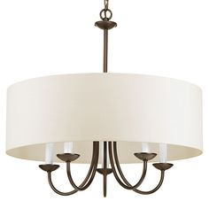 Casual with a contemporary flair, this charming chandelier is perfect over breakfast or diming table. A smart drum shade add distinction and provides pleasing illumination to your room. Use as a standalone style or coordinate with the Gather or Inspire collection from Progress Lighting.