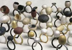 PETER BAUHUIS rings, 1998-2004, silver, gold, copper, shakudo: