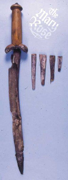 Ballock/Bollock knife.  Backed blade? With by-knives, possibly fruit, pen, whittling, etc?