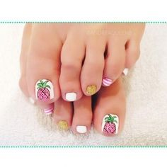 56 Adorable Toe Nail Designs For Summer 2017 Pineapple Toes Pedicure Colors, Pedicure Designs, Pedicure Nail Art, Toe Nail Designs, Toe Nail Art, Pedicure Ideas, White Pedicure, French Pedicure, Nail Nail