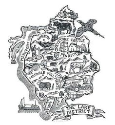 Linocut Map of the Lake District England by Owain Kirby