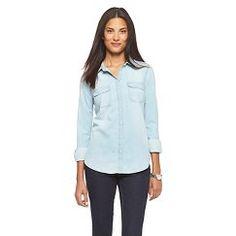 c382ef9bfb77 Women s Denim Button Down Shirt  Dark Shadow Blue XS