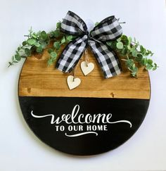 Excited to share this item from my #etsy shop: Round wood door hanger, welcome to our home sign, farmhouse decor, housewarming gift #housewarming #countryfarmhouse #homedecor #rusticdecor #housewarminggift #farmhousedecor #cabindecor