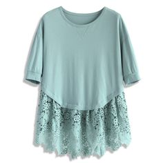 Chicwish Lace for Love Dolly Top in Teal ($33) ❤ liked on Polyvore featuring tops, blouses, green, flower print tops, lace top, green top, macrame top and green lace top
