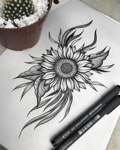 Sunflower Tattoo Shoulder, Sunflower Tattoos, Sunflower Tattoo Design, Flower Tattoo Designs, Sunflower Mandala Tattoo, Sunflower Drawing, Neue Tattoos, Body Art Tattoos, Sleeve Tattoos